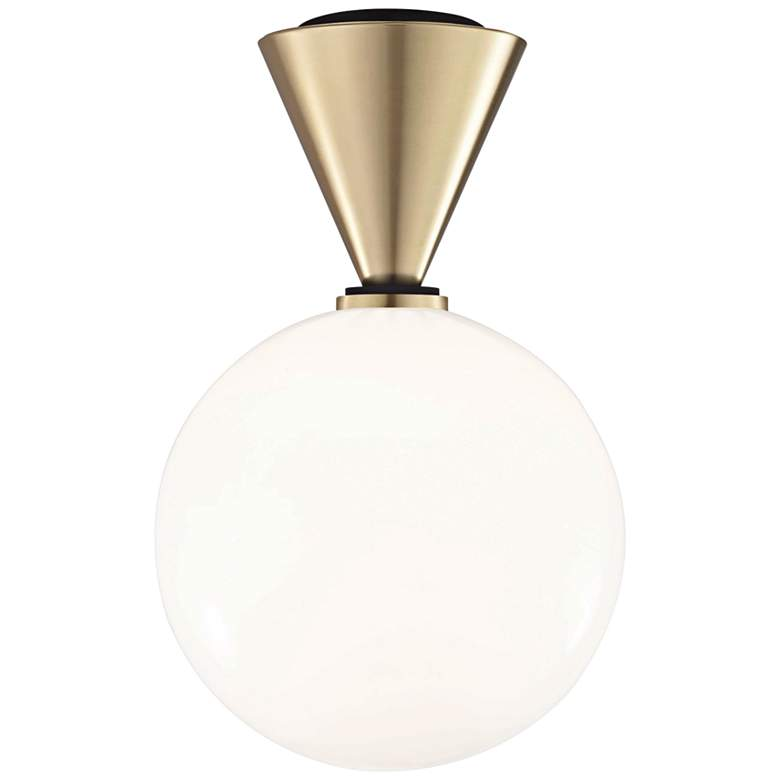 "Mitzi Piper 9"" Wide Aged Brass LED Ceiling Light"