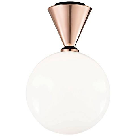 """Mitzi Piper 9"""" Wide Polished Copper LED Ceiling Light"""