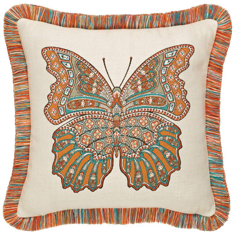 """Mariposa Coral Fringed 20"""" Square Indoor-Outdoor Pillow"""