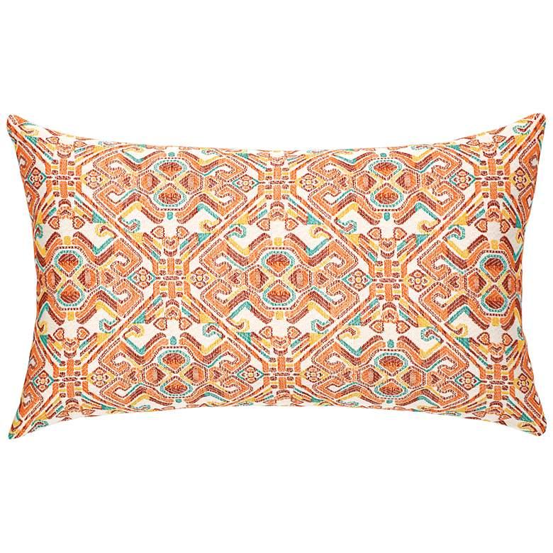 "Lindos Orange 20"" x 12"" Lumbar Indoor-Outdoor Pillow"