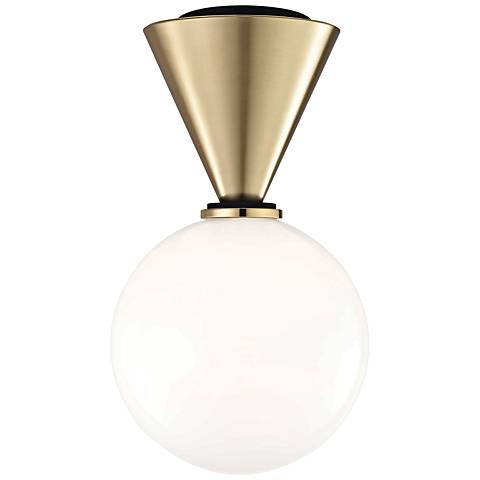 """Mitzi Piper 7 1/2"""" Wide Aged Brass LED Ceiling Light"""