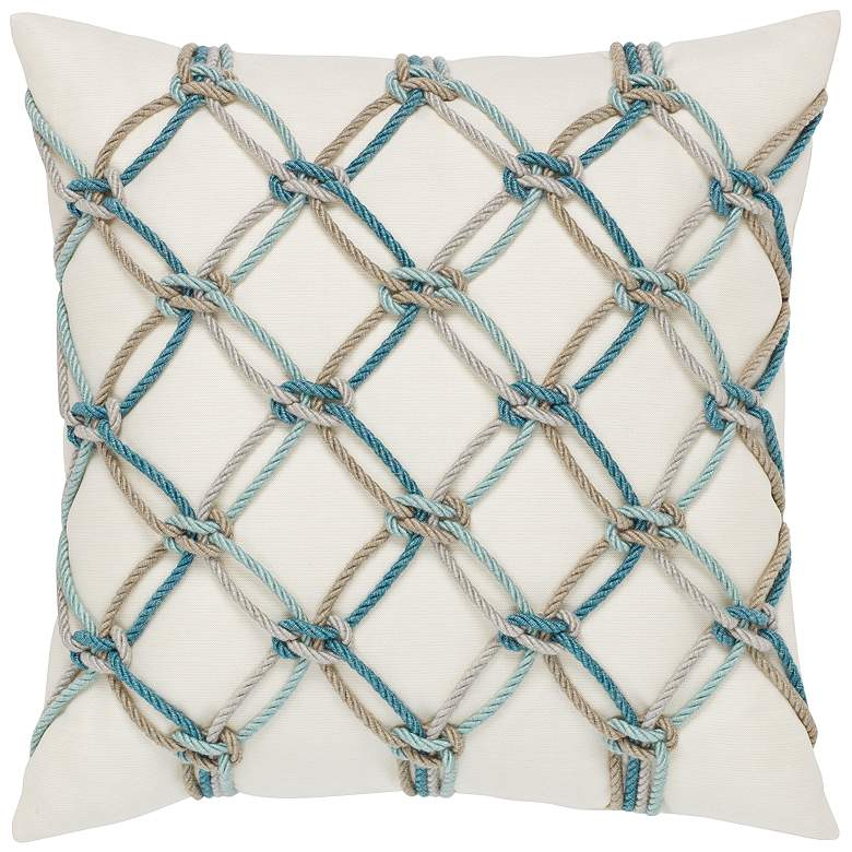 "Aqua Rope 20"" Square Indoor-Outdoor Decorative Pillow"