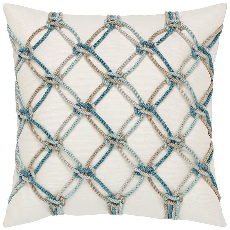 """Aqua Rope 20"""" Square Indoor-Outdoor Decorative Pillow"""