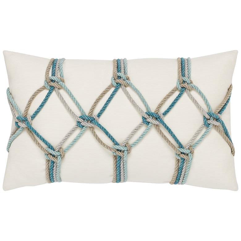 "Aqua Rope 20"" x 12"" Lumbar Indoor-Outdoor Decorative Pillow"