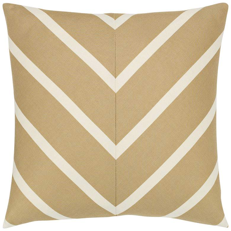 "Shine Chevron Gold 20"" Square Indoor-Outdoor Pillow"