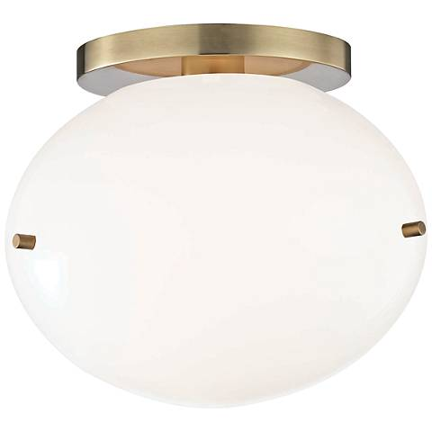 "Mitzi Winnie 7 3/4"" Wide Aged Brass LED Ceiling Light"