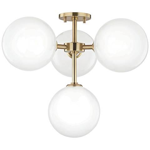 """Mitzi Ashleigh 20 1/4""""W Aged Brass 4-Light LED Ceiling Light"""