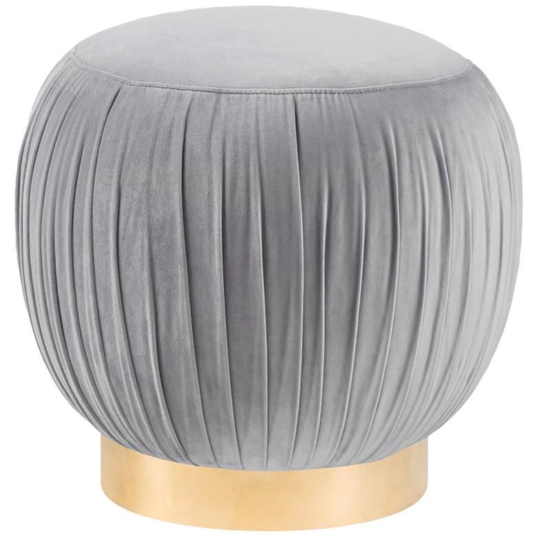 Tulip Gray Velvet Round Ottoman