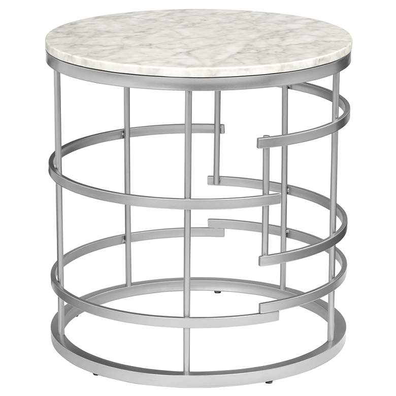 "Brassica 24"" Wide Faux Marble and Silver Modern End Table"
