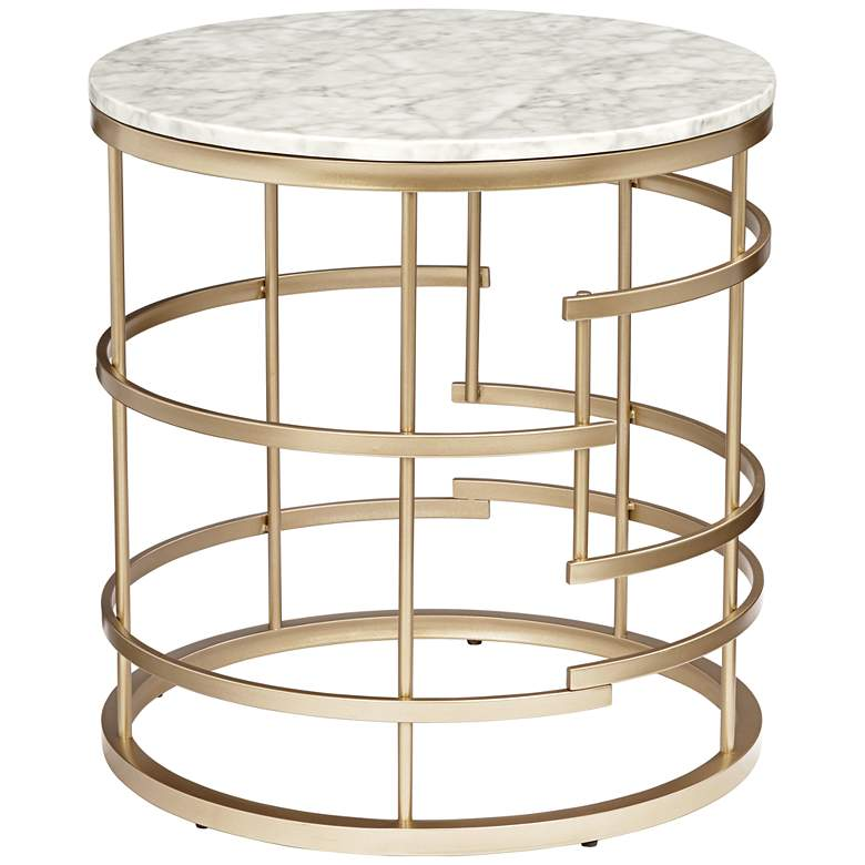 "Brassica 24"" Wide Faux Marble and Gold Modern End Table"