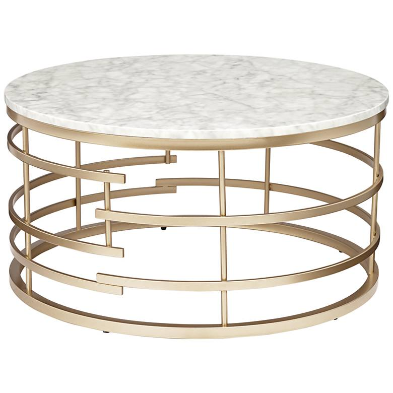 """Brassica 34"""" Wide Faux Marble and Gold Modern Coffee Table"""
