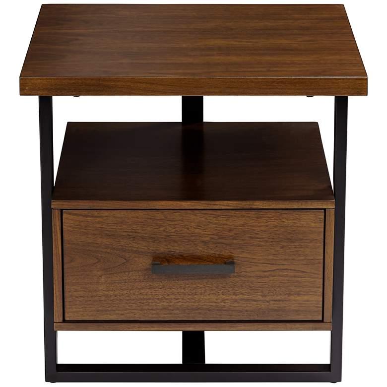 "Sedley  22"" Wide Walnut 1-Drawer Modern End Table"