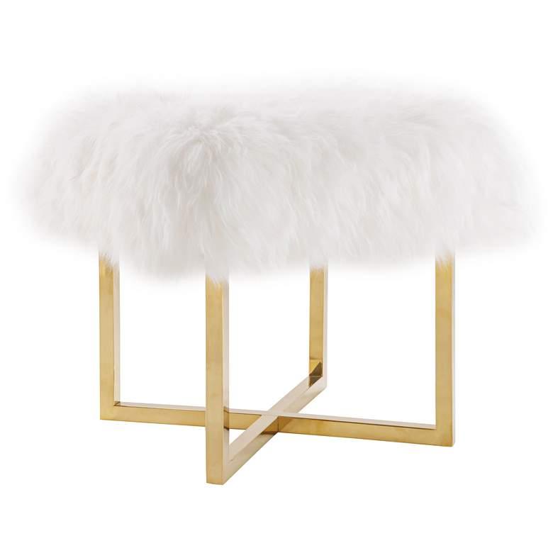 Nomo White Sheepskin Square Bench