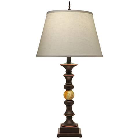 Stiffel Ella Onyx Bronze and Medium Green Onyx Table Lamp