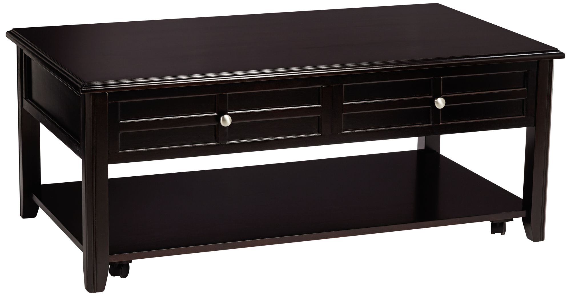 Carrier Dark Espresso Lift Top 2 Drawer Coffee Table