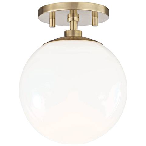 "Mitzi Stella 7"" Wide Aged Brass Ceiling Light"