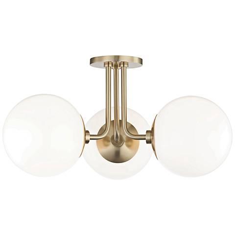 "Mitzi Stella 24"" Wide Aged Brass 3-Light Ceiling Light"