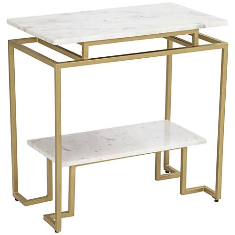 Vendar Burnished Gold and White Marble 2-Level Accent Table