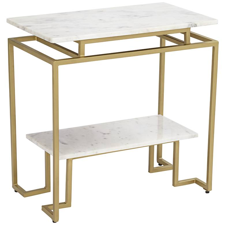 """Vendar 24"""" Wide Marble and Gold 2-Level Modern Accent Table"""