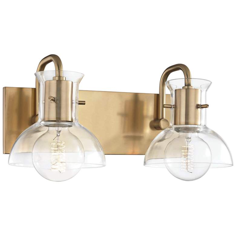"Mitzi Riley 8"" High Aged Brass 2-Light Wall Sconce"