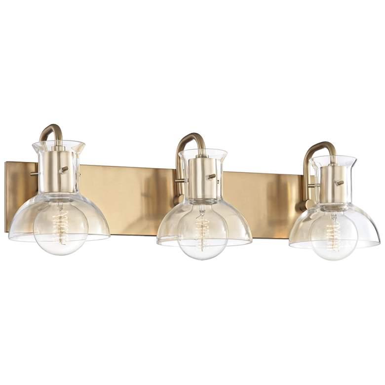"Mitzi Riley 24"" Wide Aged Brass 3-Light Bath Light"