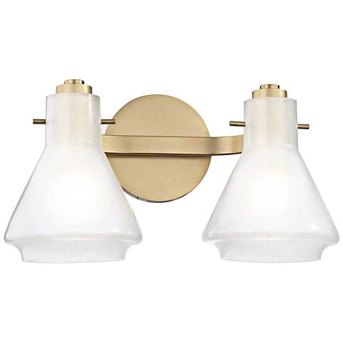 "Mitzi Rosie 7 1/2"" High Aged Brass 2-Light Wall Sconce"