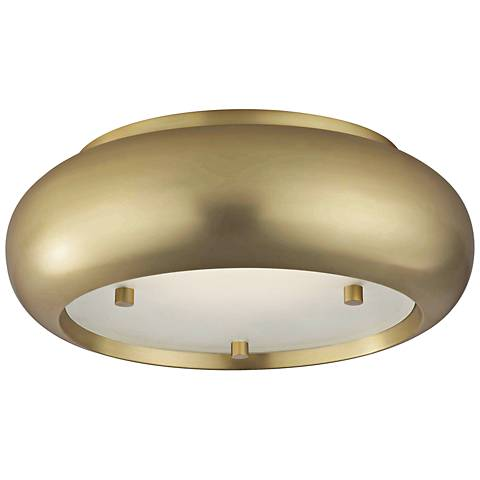 """Mitzi Keira 10"""" Wide Aged Brass LED Ceiling Light"""