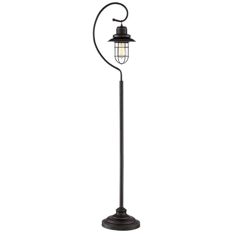 Ulysses Bronze Industrial Lantern Floor Lamp with 7W LED Bulb