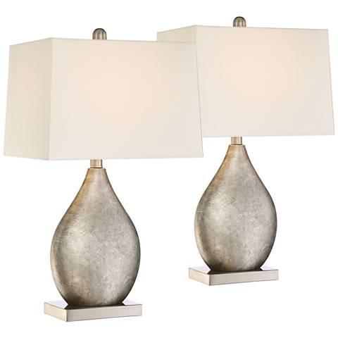 Royce Teardrop Metal Table Lamp Set of 2 with 17W LED Bulbs