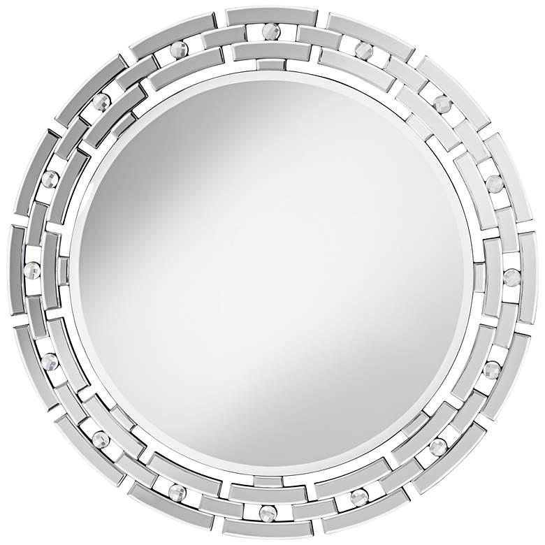 "Possini Euro Aran Glass 36 1/4"" Round Wall Mirror"