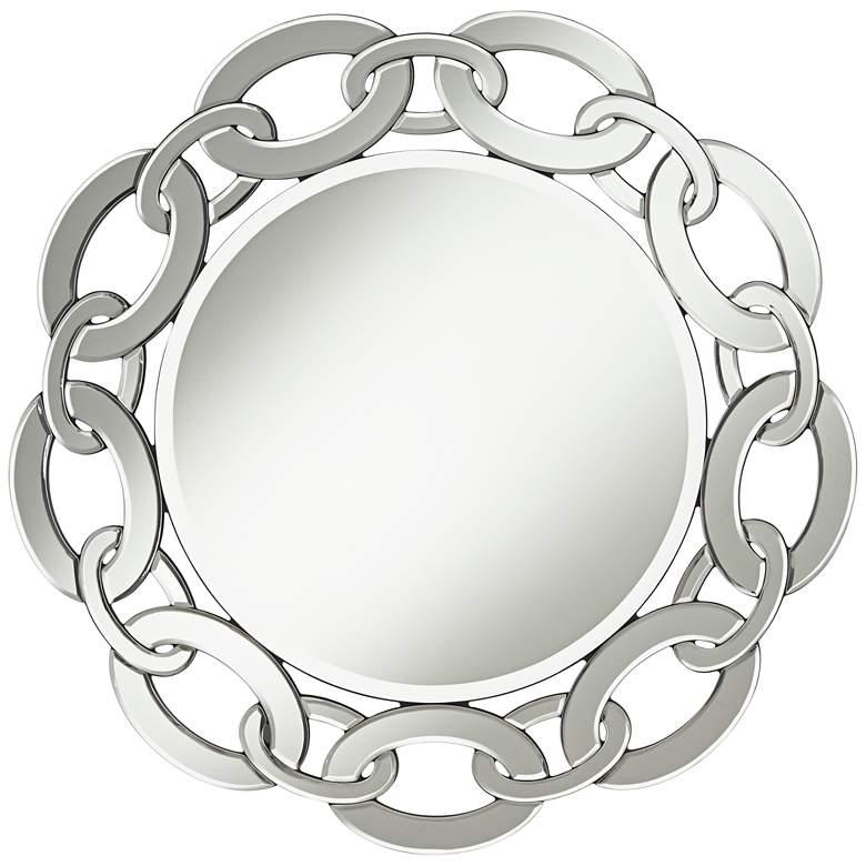 "Possini Euro Miranda Link Frame 30 3/4"" Round Wall Mirror"