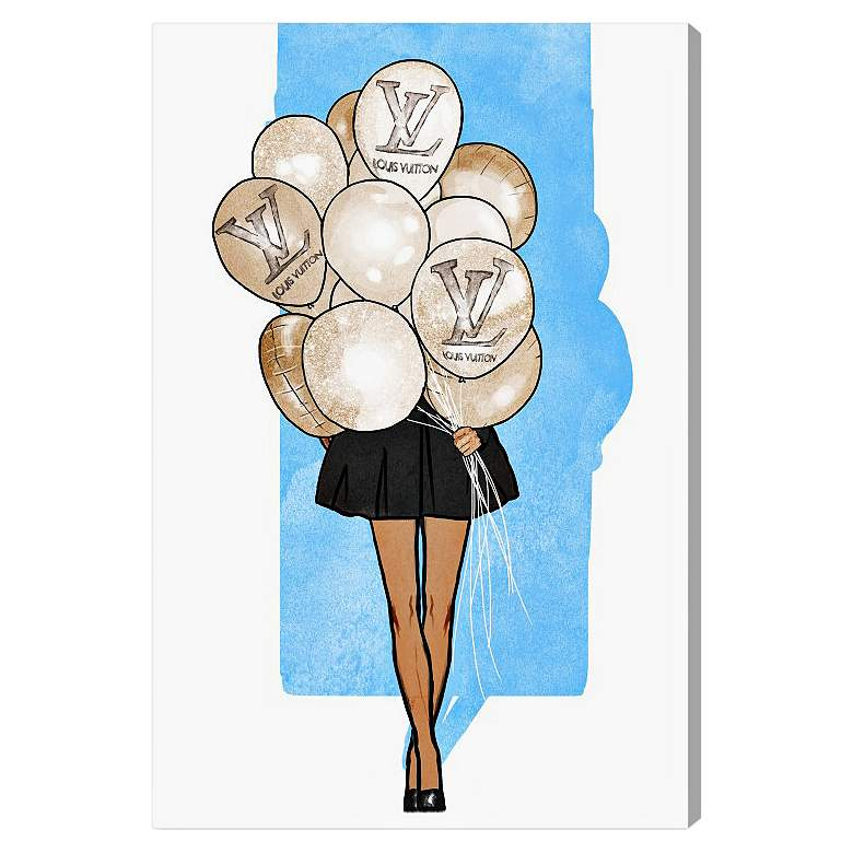 "Oliver Gal Balloon Girl Blue 15"" High Canvas Wall Art"