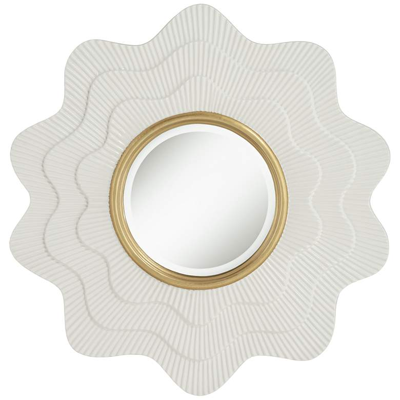 "Camellia White and Gold 35"" x 35"" Wave Wall Mirror"