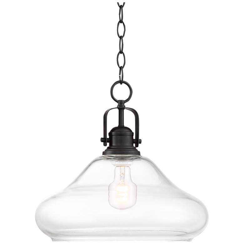 """Hunter 14 1/4"""" Wide Steel and Clear Glass Pendant Light"""