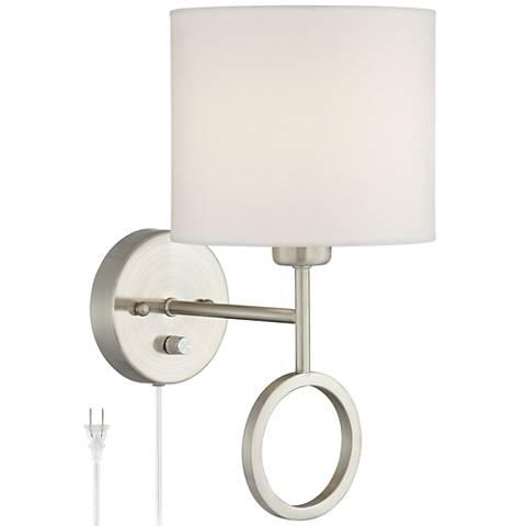 Amidon Brushed Nickel Drop Ring Plug-In Wall Lamp