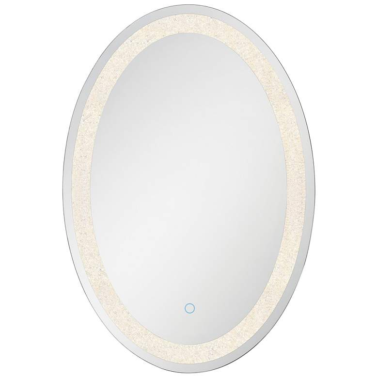"Back-Lit Chrome 23 3/4"" x 31 1/2"" Oval LED Wall Mirror"