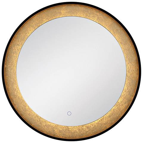"Edge-Lit Black and Gold Leaf LED 30"" Round LED Wall Mirror"