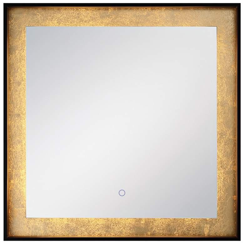 "Edge-Lit Black and Gold Leaf 32"" Square LED"