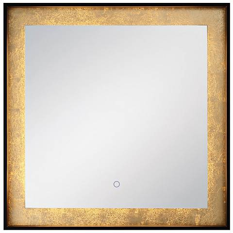 """Edge-Lit Black and Gold Leaf 32"""" Square LED Wall Mirror"""