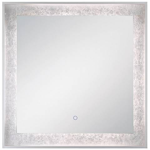 "Eurofase Edge-Lit Silver 32"" Square LED Wall Mirror"