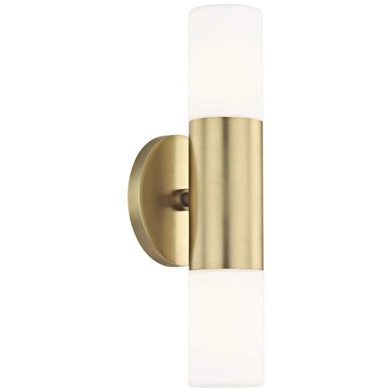 "Mitzi Lola 13"" High Aged Brass 2-Light LED Wall Sconce"