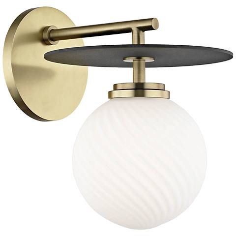 "Mitzi Ellis 8 3/4"" High Aged Brass LED Wall Sconce"
