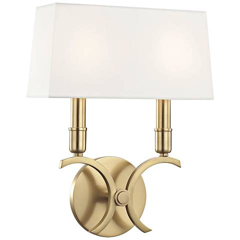 "Mitzi Gwen 13 1/4"" High Aged Brass 2-Light Wall Sconce"