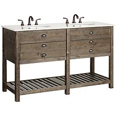 """Crosett Cayhill 57"""" Wide Cultured Marble Double Sink Vanity"""
