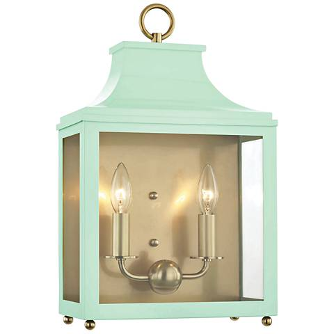 """Mitzi Leigh 18 1/2""""H Aged Brass and Mint 2-Light Wall Sconce"""