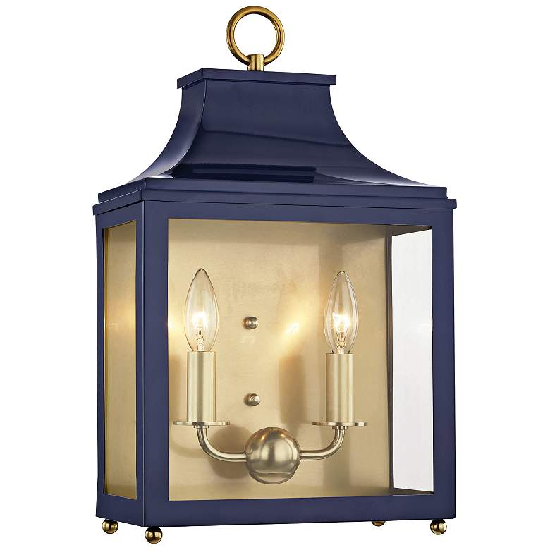 """Mitzi Leigh 18 1/2""""H Aged Brass and Navy 2-Light Wall Sconce"""