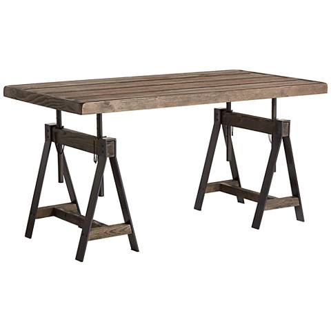"Camden 63"" Wide Distressed Brown Wood Adjustable Table"