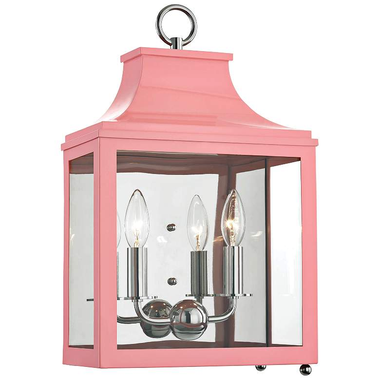 """Mitzi Leigh 18 1/2"""" High Nickel and Pink 2-Light Wall Sconce"""