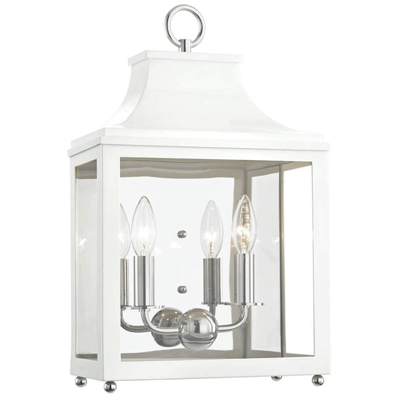 """Mitzi Leigh 18 1/2""""H Nickel and White 2-Light Wall Sconce"""