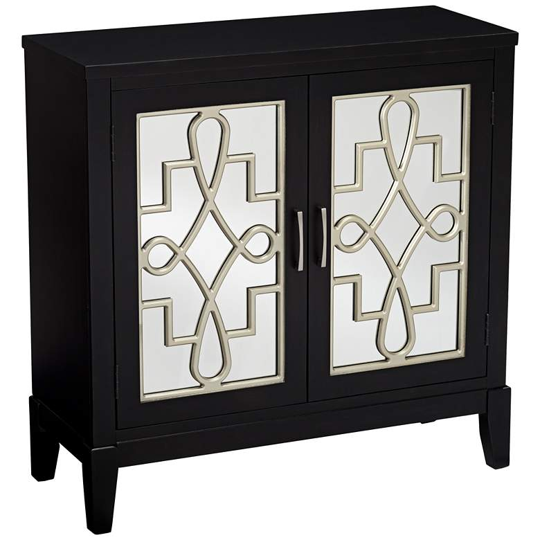 """Mansfield 36"""" Black and Mirrored 2-Door Accent Media Cabinet"""